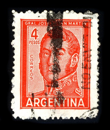 ARGENTINA - CIRCA 1980: A stamp printed in ARGENTINA shows image portrait Jose Francisco de San Martin, also known as Jose de San Martin (c. 1778 – 17 August 1850), was an Argentine general and the prime leader of the southern part of South America's succ