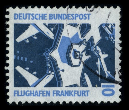 GERMANY - CIRCA 1980: A stamp printed in GERMANY shows image of the dedicated to the Frankfurt-Hahn Airport is a commercial airport located 10 km (6.2 mi) from the town of Kirchberg and 20 km (12 mi) from the town of Simmern in the Rhein-Hunsruck district