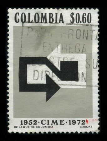 COLOMBIA - CIRCA 1972: A stamp printed in COLOMBIA shows image of the dedicated to the CIME 1952-1972, circa 1972.