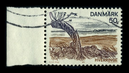 DENMARK-CIRCA 1974: A stamp dedicated to the Hverriinge is an old seat house, which was first mentioned in 1350 The farm is located in Viby Sogn, Mountain District, Kerteminde Municipality, circa 1974.