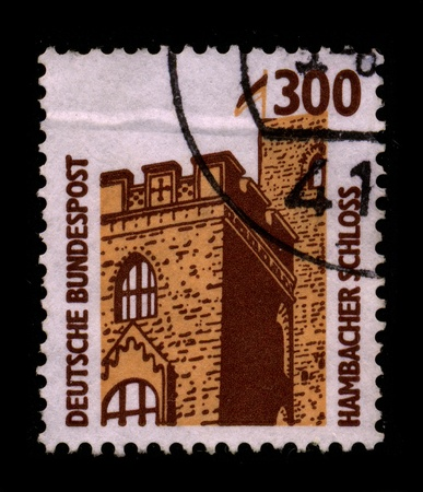 GERMANY-CIRCA 1980:A stamp printed in GERMANY shows image of the Hambach Castle near the urban district Hambach of Neustadt an der Weinstra?e in Rhineland-Palatinate, Germany, is considered to be the symbol of the German democracy movement because of the