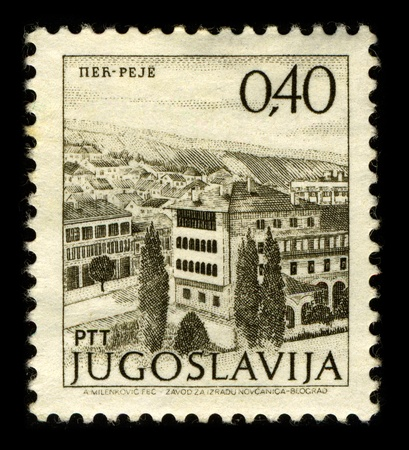 YUGOSLAVIA-CIRCA 1970:A stamp printed in YUGOSLAVIA shows image of the Pec is a city and municipality in north-western Kosovo, and the administrative centre of the homonymous district, circa 1970.