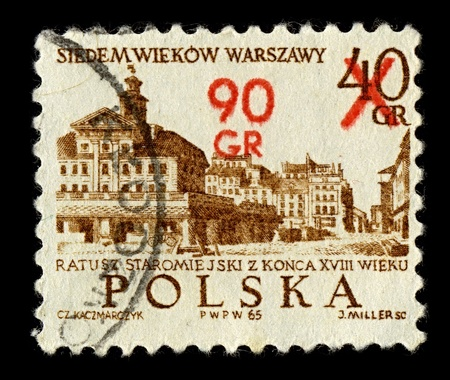 POLAND-CIRCA 1965:A stamp printed in POLAND shows image of Old City Town Hall in Szczecin (Polish Ratusz Staromiejski w Szczecinie) - the present day shingle-roofed Town Hall in the Old City district was built for the municipal government in the 15th cent