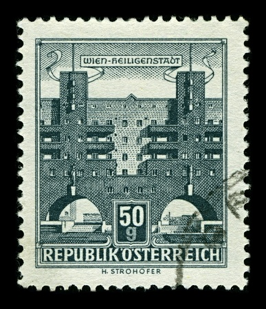 AUSTRIA-CIRCA 1958:A stamp printed in AUSTRIA shows image of Karl Marx-Hof  is one of the best-known Gemeindebauten in Vienna, situated in Heiligenstadt, a neighbourhood of the 19th district of Vienna, Dobling, 1958.