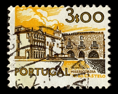 Portugal-CIRCA 1972:A stamp printed in Portugal shows image of hospital in Viana do Castelo, circa 1972.