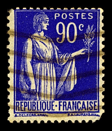 France-CIRCA 1938:A stamp printed in USA shows image of Symbol of peace, circa 1938.