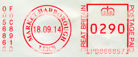 GOMEL, BELARUS, 23 NOVEMBER 2017, Stamp printed in UK shows image of the Postage Paid GB, circa 2014.
