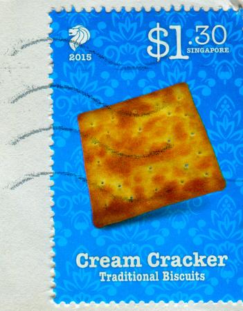 GOMEL, BELARUS, 3 DECEMBER 2017, Stamp printed in Singapore shows image of the Cream Cracker, circa 2015.