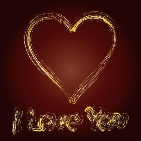 written declaration of love on brown background, vector