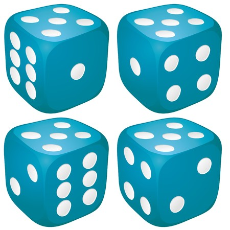 Set of blue casino craps, dices with five points, dots number on top