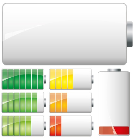 Set of White Batteries charge showing stages of power running low and full
