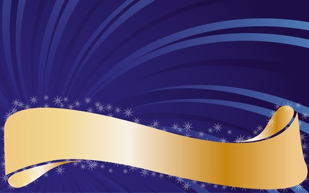 Blue background with snowflakes and gold type, illustration