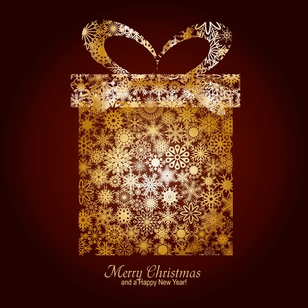 Christmas card with gift box made from gold snowflakes on brown background and a wish of Merry Christmas and a Happy New Year, illustration