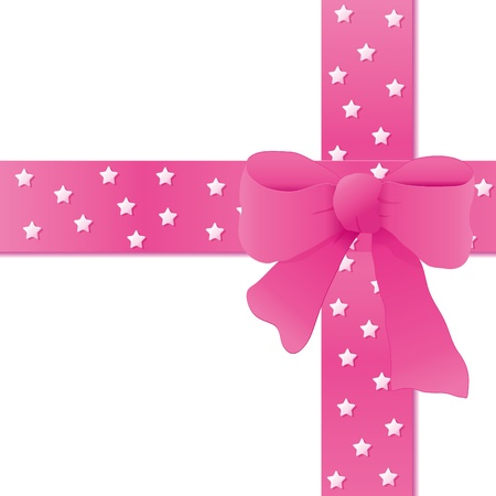 Card for greeting or congratulation with the pink bow. Vector illustration eps 10.0