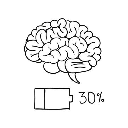 charging bar of brain. vector illustration