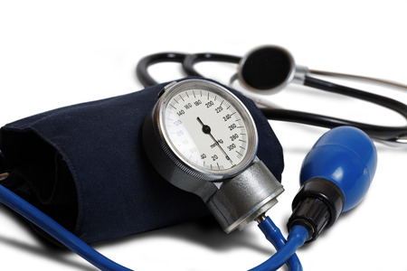 Medic instrument for measuring blood pressure - Professional Blood Pressure Kit with Pressure Cuff isolated on white. Shallow focus.