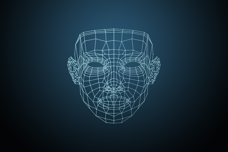 Photo pour Human face, triangular glowing grid, Biometric verification - face recognition. Technology of face recognition on polygonal grid is constructed by the points of IT security and protection. - image libre de droit