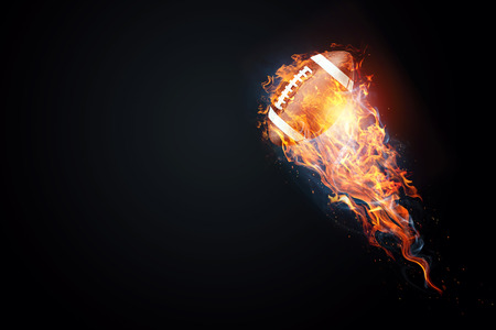 Photo for American football game. Soccer ball enveloped by fire. The concept of sport, wrestling, speed, opposition. Mixed media, copy space. - Royalty Free Image