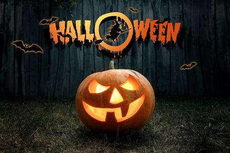 Foto de Halloween, ghost, pumpkin. Design of a holiday flyer, invitation card, postcard. - Imagen libre de derechos