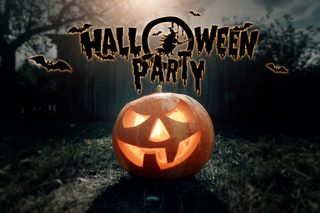 Foto de Halloween party, ghost, pumpkin. Design of a holiday flyer, invitation card, postcard. - Imagen libre de derechos