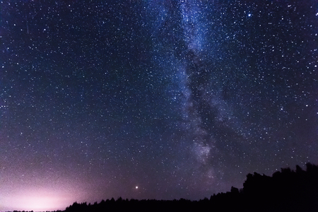 Photo for Starry sky, milky way, beautiful landscape, night time, Belarus. - Royalty Free Image