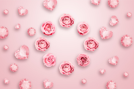 Foto per Pink roses and green leaves against a pink background. flat lay, copy space, Mixed media, top view. - Immagine Royalty Free