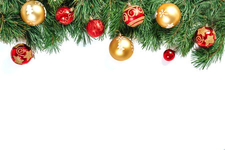 Photo pour Christmas frame - tree branches with gold and red balls isolated on white background. Isolate. - image libre de droit