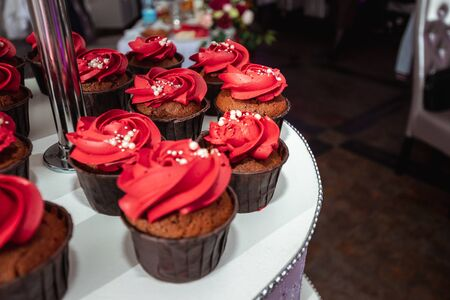 wedding cupcakes, decoration. The concept of marriage, family relationships, wedding paraphernalia