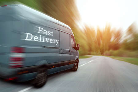 Photo for Fast delivery, minibus, car. Copy space - Royalty Free Image