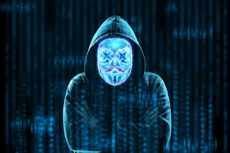 Photo pour The face of a man in a capichon is hidden behind a digital hologram mask, hacker. Concept for internet crime, fraud, cyber attack, spam, electronic theft - image libre de droit