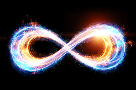 Photo pour Fire ice infinity sign isolated on black background. - image libre de droit