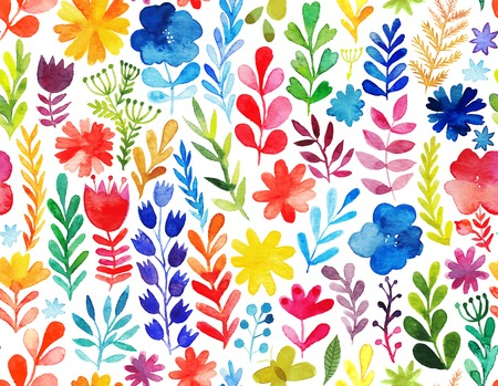 Illustration pour Vector pattern with flowers and plants. Floral decor. Original floral seamless background - image libre de droit