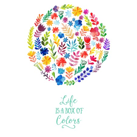 Illustration for Vector watercolor circle design made of flowers. Botanical decoration, lettering. Floral card with copy space - Royalty Free Image