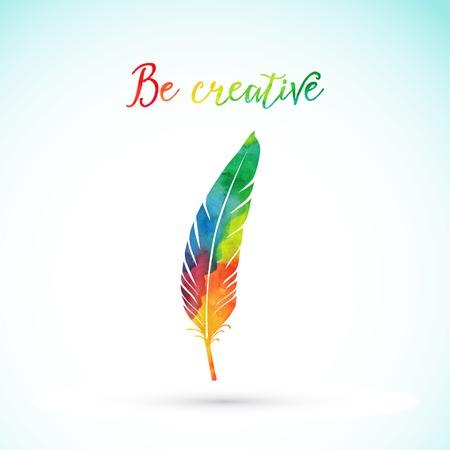 Illustration pour Vector watercolor writing feather. Colorful vector feather. Watercolor silhouette of feather - image libre de droit