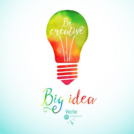 Ilustración de Light bulb made of watercolor, lightbulb and creative icons, watercolor creative concept. Vector concept - creativity and idea. Lettering. quote. Creative light bulb, Big idea, Creative Research - Imagen libre de derechos