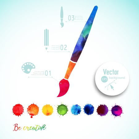 Vector paint brush silhouette made of watercolor, creative icons, watercolor creative concept. Creativity and draw. Lettering. quote. Artist tool. Colorful Abstract vector ink paint splats