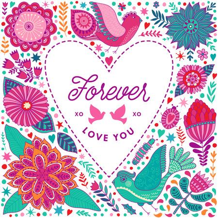 Ilustración de Floral heart frame made of flowers. Doodle Heart. Valentines day card, herbs and flowers doodles. Valentine s day template greeting card. Flowers in heart shape. - Imagen libre de derechos