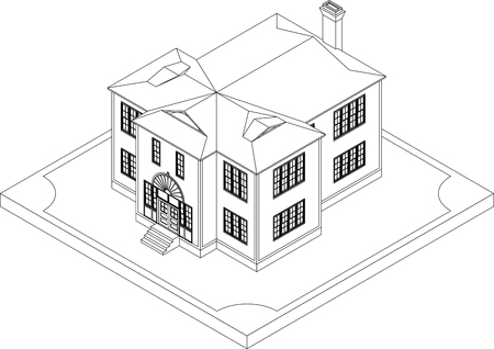Contour Of Isometric Residential Building Illustration Of