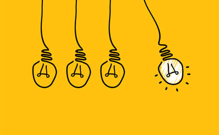 Illustration for Comic brain electric lamp idea doodle. FAQ, business loading concept. Fun vector light bulb icon or sign ideas. Brilliant lightbulb education or invention icon banner - Royalty Free Image