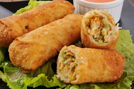 Close up photo of chicken egg rolls