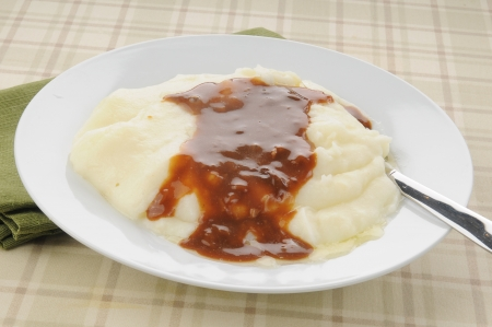Closeup of a bowl of mashed potatoes and mushroom gravy