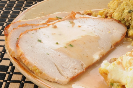 Close up of sliced turkey smothered in gravy