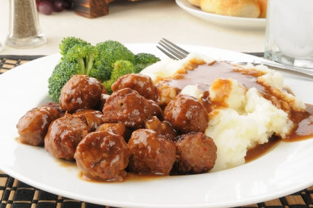 Closeup of swedish meatballs with gravy
