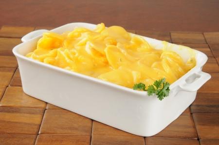 Au gratin potatoes in a casserole dish