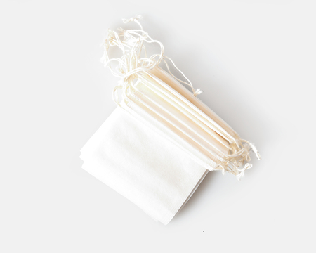 Disposable drawstring tea bags, overhead view