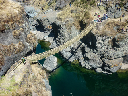 Q'eswachaca, a bridge made of grass, hanging over the Apurimac river, Quehue, Cusco, Peru