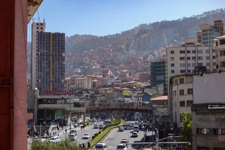Evening view along Mariscal Santa Cruz Avenue, the main thoroughfare in downtown La Paz, Bolivia