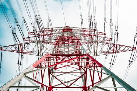 Photo for A red white pylon during summertime on a low angle at daylight, Darmstadt, germany - Royalty Free Image