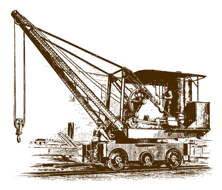 Illustration for Two workers standing on a historic locomotive craneÊ(after an etching or engraving from the 19th century) - Royalty Free Image