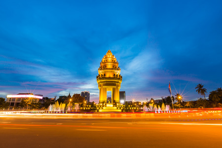 Independence monument at Phnom Penh city in twilight